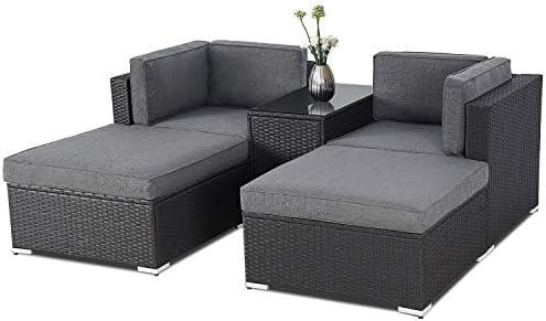 Incbruce Outdoor 5-Piece Patio Lounge Chair Ottoman Furniture Set