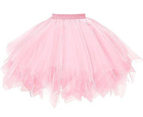 Bettli Girls's Short Vintage Short Tulle Petticoat Skirts Tutu Ballet Bubble Tutu Underskirt (Pink)