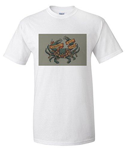 Virginia - Blue Crab Tattoo (White T-Shirt Large)