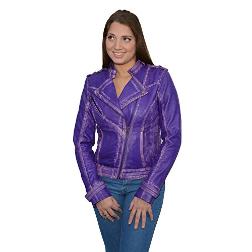 Womens Purple Leather Jacket - 1