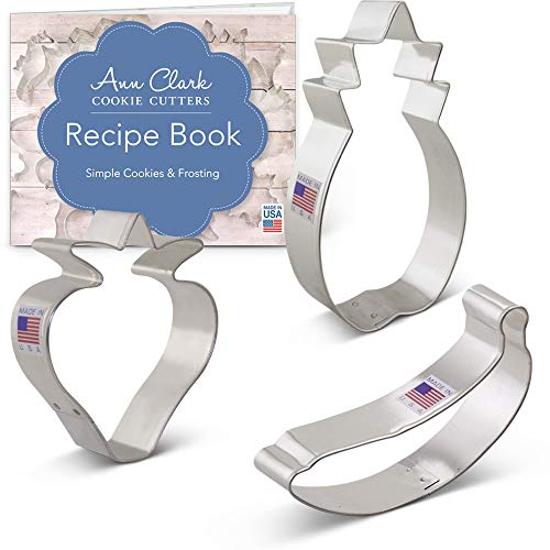 Fruit Cookie Cutter Set with Recipe Booklet - 3 piece - Strawberry, Banana and Pineapple - Ann Clark - USA Made Steel ()