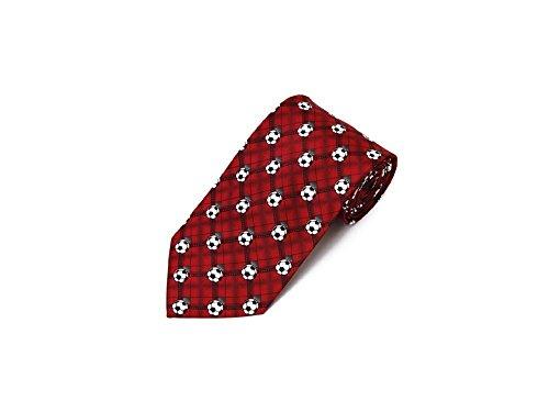 Men's Soccer Balls Repeat Sports Necktie Tie Neckwear (Red)