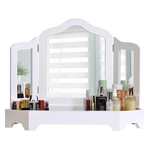 DELMANGO Desktop Vanity Set with Tri-fold Mirror Dressing Table,Rotatable Makeup Mirror Cabinet,Simple Vanity Set Without Table Chair,White (Makeup Chair Table)