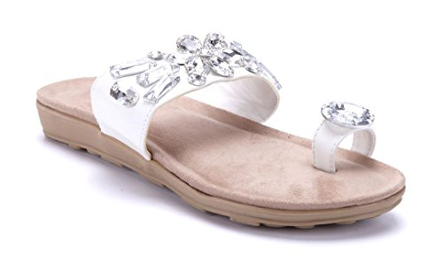 Schuhtempel24 Damen Schuhe Zehentrenner Sandalen Sandaletten Flach  Ziersteine Weiß 7ebe529e01
