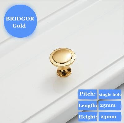 BRIDGOR 25mm 8 pcs Modern simple solid thick green environmental protection does not fade Drawer Pull Handle Cabinet Door Knobs (Gold)