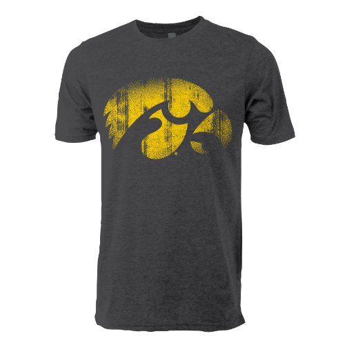 - NCAA Iowa Hawkeyes Adult Men Vintage Sheer Short Sleeve Tee Large
