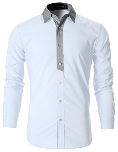 FLATSEVEN Mens Stylish Contrast Collar Casual Shirt (SH1011) White, L