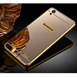 KPH Luxury Mirror Effect Acrylic back + Metal Bumper Case Cover for Lenovo A6000 / A6000 Plus