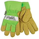 KINCO 1939-M Men's High Visibility Lined Pigskin Safety Cuff Gloves, Heat Keep Thermal Lining, Medium, Lime Green