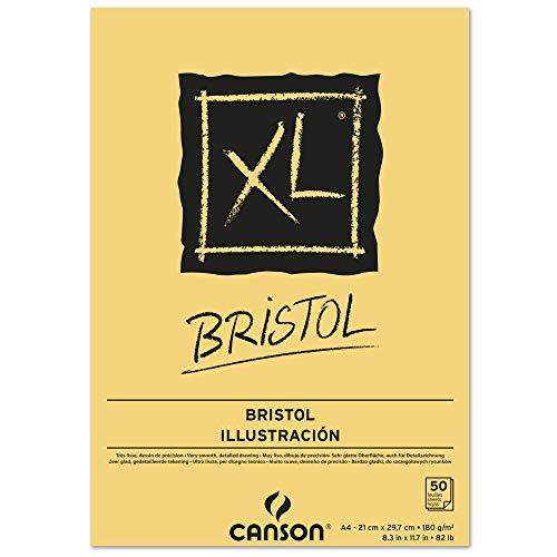 Bloc Dibujo Canson Xl Bristol Din A4 Extraliso Encolado 21×29,7 Cm 50 Hojas 180 Gr