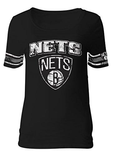 NBA Brooklyn Nets Adult Women Ladies Baby Jersey Short sleeve with Printed sleeve stripes,L,black