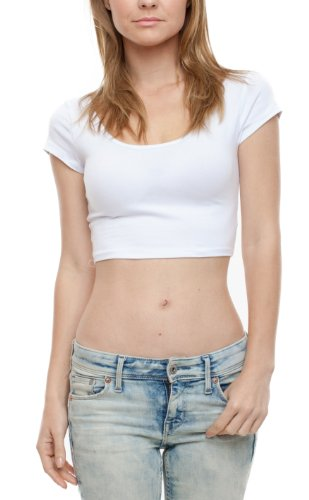 [A.S Juniors Cotton Stretchy Cap Sleeve Casual Ballerina Crop Top (Medium, White)] (Model Womens Cap Sleeve T-shirt)
