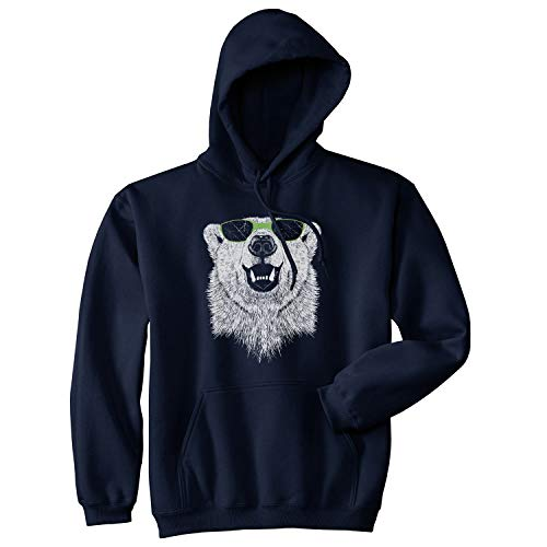 Crazy Dog T-Shirts Polar Bear in Sunglasses Graphic Funny Cool Unisex Pull Over Hoodie S Blue