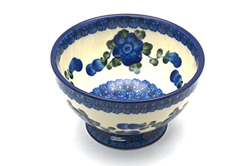 Polish Pottery Bowl - Pedestal - Small - Blue Poppy