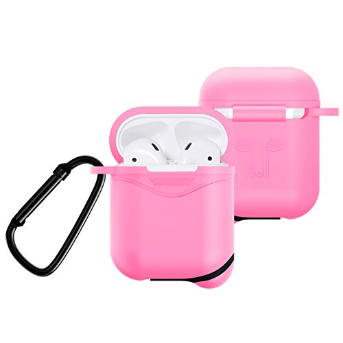 Premium Silicone Case for Apple AirPods Charging Case, Crash Scratch Resistant Anti Slipping Holder Seamless Fit Splash Dust Proof Pouch for Air Pods Earbuds (Pink) (Pink Skin Protector Case)