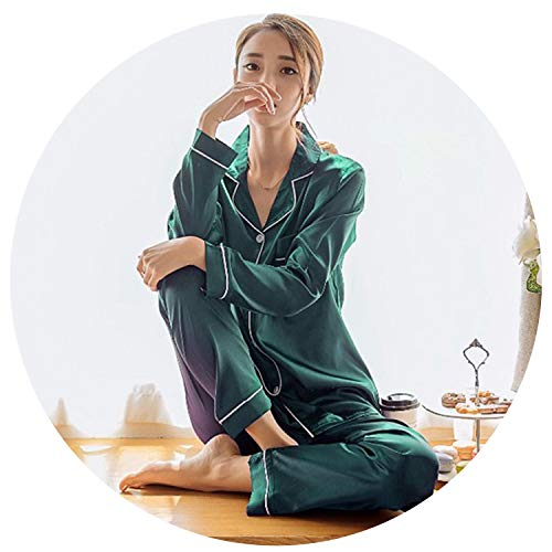 Capilene Shirt Green (Womens Silk Satin Pajamas Set Long Sleeve Sleepwear Pijama Pajamas Suit Female Sleep Two Piece Set Loungewear Plus Size,Green,XL)