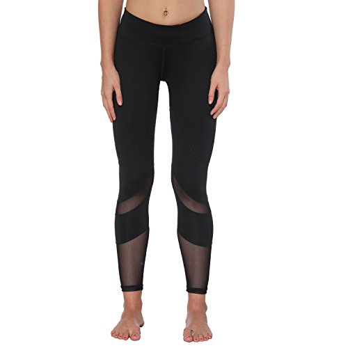 Yoga Pants, FEIVO Women's Power Flex Yoga Pants Tummy Control Workout Yoga Capris Pants Leggings,Mesh-black2,Medium