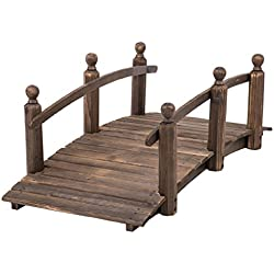 "PayLessHere 5"" Wooden Bridge Stained Finish Decorative Solid Wood Garden Pond Arch Walkway"
