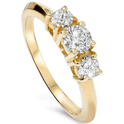 1ct Three Stone Diamond Engagement Anniversary Ring 14K Yellow Gold