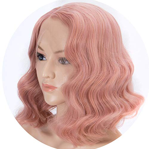 Pink Wigs for Women Short Bob Rose Golden Mixed Color Wavy Wig,Pink,as shown