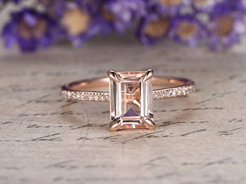 (Natural 6x8mm Emerald Cut Pink Morganite Solitaire Engagement Ring Solid 14k Rose Gold Half Eternity Diamond Wedding Band Thin Bridal Rings Stacking Anniversary Gift Birthstone Claw Prong)