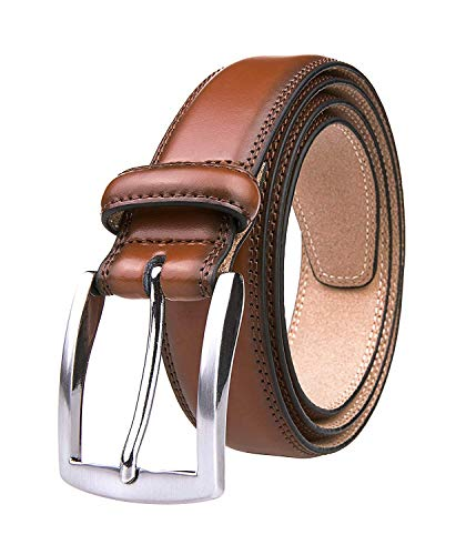 Men's Genuine Leather Dress Belt with Premium Quality - Classic & Fashion Design for Work Business and Casual (esBrown, 36) (Leather Brown Quality)