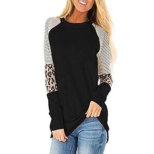 BLENCOT Women's Color Block Striped Long Sleeve Leopard Loose Fit Tunics Shirts Tops