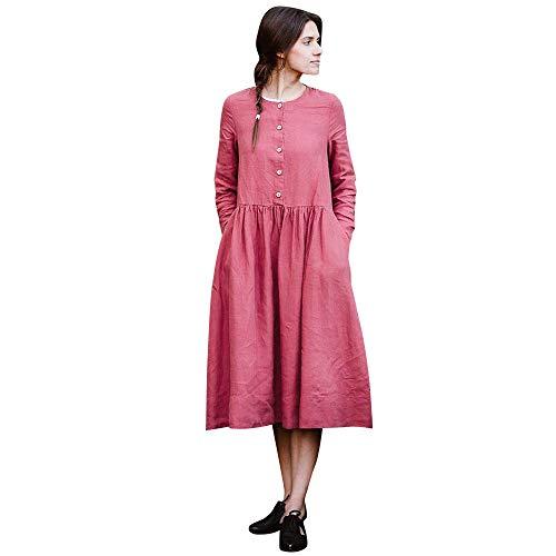 Woman Dress Loose Dress Boho A-Lin Tunic Lâce Long Sleeve Collar O Casual Maxi Dress Toponly -