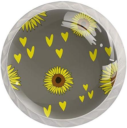 Lade knoppen ronde kast handgrepen trekken voor thuiskantoor keuken dressoir garderobe versierengrijze zon bloemen Vector