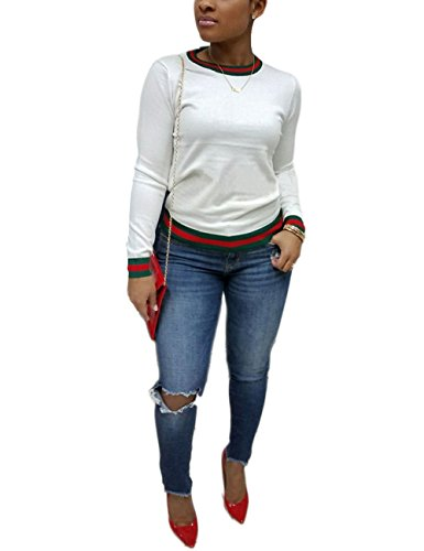 (Akmipoem Women's Ribbon Stripe Patchwork Long Sleeve Pullover Tops Sweatshirt White)