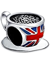 Blue, white and Red British Union Jack English Flag Tea Cup Charm Bead .925 Sterling Silver