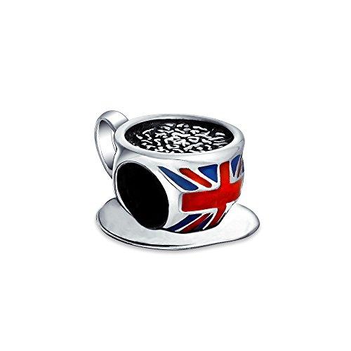 British Flag Union Jack UK London Travel Vacation Tea Cup Charm Bead For Women Sterling Silver Fit European Bracelet