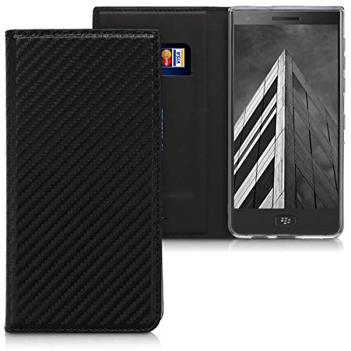 kwmobile Flip Case for BlackBerry Motion - PU Leather Wallet Folio Cover with Card Slot, Stand Feature - Black Blackberry Leather Folio Case