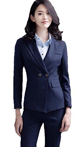 パワー食用負担JinNiu ファッション スーツ レディース セットースーツ オフィス パンツスーツ スリム 通勤 ビジネス ストライプ ジャケット 事務服 大きいサイズ