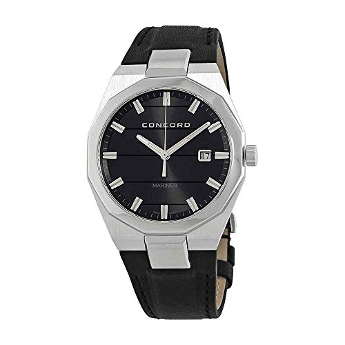 Concord Mariner Mens Casual Grey Face Watch - 41mm Stainless Steel Analog Quartz Watch with Luminous Markers, Second Hand, Date and Sapphire Crystal Black Leather Band Swiss Made Watch for Men 0320262