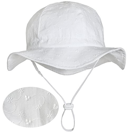 Kids White Summer Sunhat 50 UPF, Adjustable Foldable, Stay-on Chin Strap (L: 2-12Y, Floppy Hat: Tiny Floret) by Twinklebelle