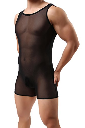 Aiteme Men's Mesh See-through Lingerie Bodysuit T-shirt Boxer Romper (XL, Black)