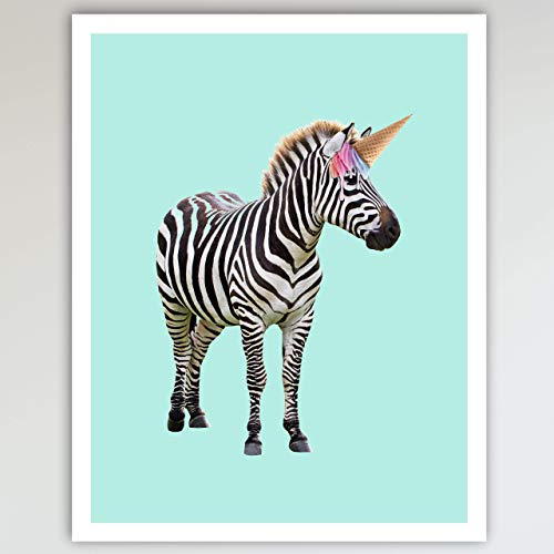 Zebra & Rainbow Ice Cream Cone Unicorn Art Print Poster - Fun Home & Bedroom Wall Art for Girl's Bedroom & Home Decor 11x14 inches, Unframed