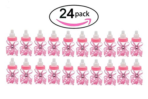 Noex Direct 24 PCS Candy Bottles Baby Shower Favor Mini Candy Bottle Gift Box Girl Baby Birthday Parties Decoration (Pink)