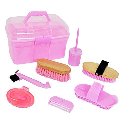 8-teilige Pferdeputzbox in Pink für Kinder Putzkasten Striegel Hufkratzer Kardätsche Hufpinsel Mähnenkamm