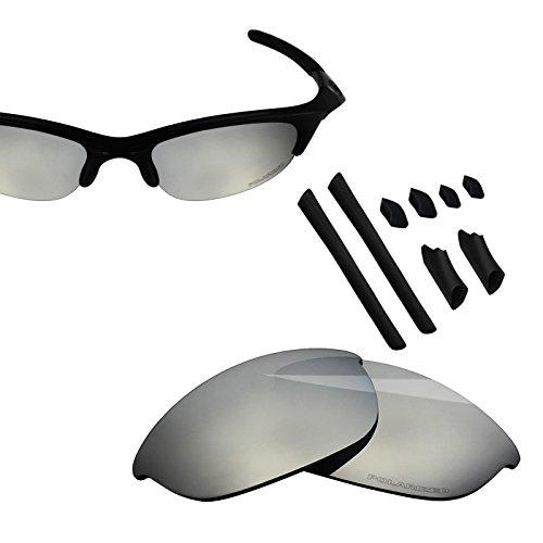 BlazerBuck Anti-salt Polarized Replacement Lenses & Sock Kit for Oakley Half Jacket - Silver - Jacket Half Replacement Lens Oakley