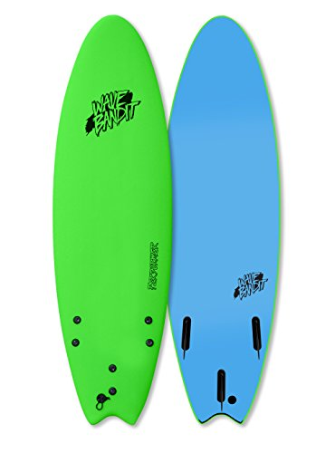Wave Bandit Performer Tri Surfboard, Neon Green, 6'6″