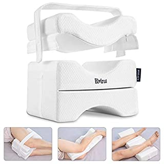 Elviros Knee Pillow for Side Sleepers, Orthopedic Memory Foam Wedge Contour Leg Pillow, Multi Position Use for Pregnancy, Sciatica Relief, Back, Leg, Hip, and Joint Pain