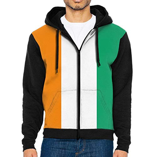 (Men's Flag of Ivory Coast Zip Hoodie Pullover Sweater Clothing )
