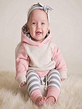 Mode Langarm Baumwolle Patchwork Hoodie Tops Bogenstirnband 3tlg Unisex Warm Pyjamas Kleidung Set Streifen Hosen PPangUDing Babykleidung Baby Jungen M/ädchen Outfits Set