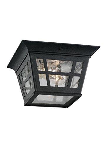 Sea Gull Lighting 78131-12 2-Light Herrington Flush Exterior Close to Ceiling Light, Black by Sea Gull Lighting