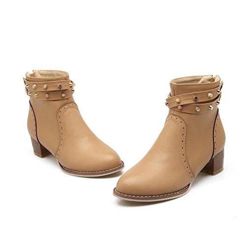 Ei&iLI Printemps des femmes / automne / hiver bout pointu similicuir talon Chunky Casual Bootie réelles , camel , 39