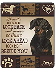 Dachshund Animal Cute Life is Dog Paw Print Pet Heart Vintage Mouse Pad Durable Waterproof Non-Slip Rubber with Stitched Edge Extended Gaming Mouse Pads for Desk Office Laptop Computer 9.8X11.8 inch