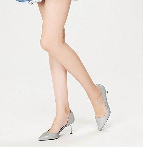 Ximu New Ol Pumps Tacchi Alti Punte Scarpe Da Sposa Femminili Moda Sandali Pompe Scarpe Corte Argento