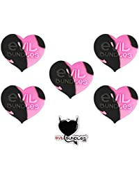 CheckOut 5 Evil Bundles Silicone Concentrate Wax Oil Non Stick Heart Jar Container (Black / Pink) FREE PIN opportunity